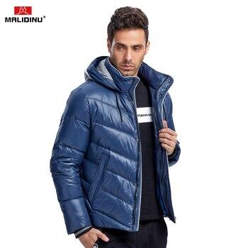 MALIDINU 2019 hombres abajo chaqueta de invierno abajo abrigo de alta calidad caliente Mens abajo abrigos con capucha 70% pato blanco abajo hombres Parka ruso