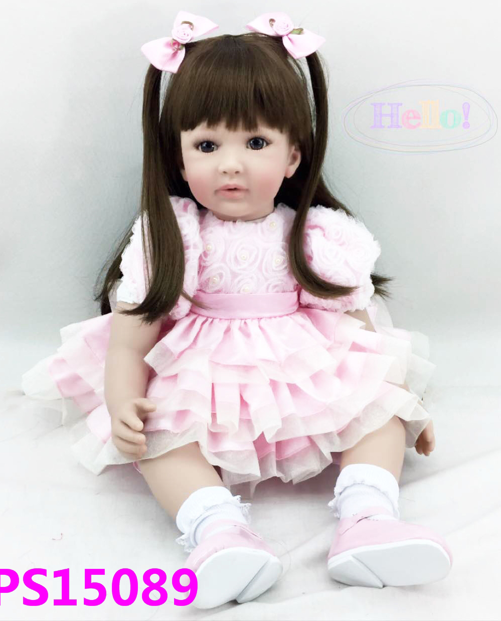 Pursue 24/60 cm Beautiful in Pink Soft Vinyl Silicone Reborn Toddler Princess Girl Baby Doll Toys for Children Girls Birthday handmade beautiful in pink dress soft cloth body reborn silicone toddler girl baby alive doll toys for children girls birthday