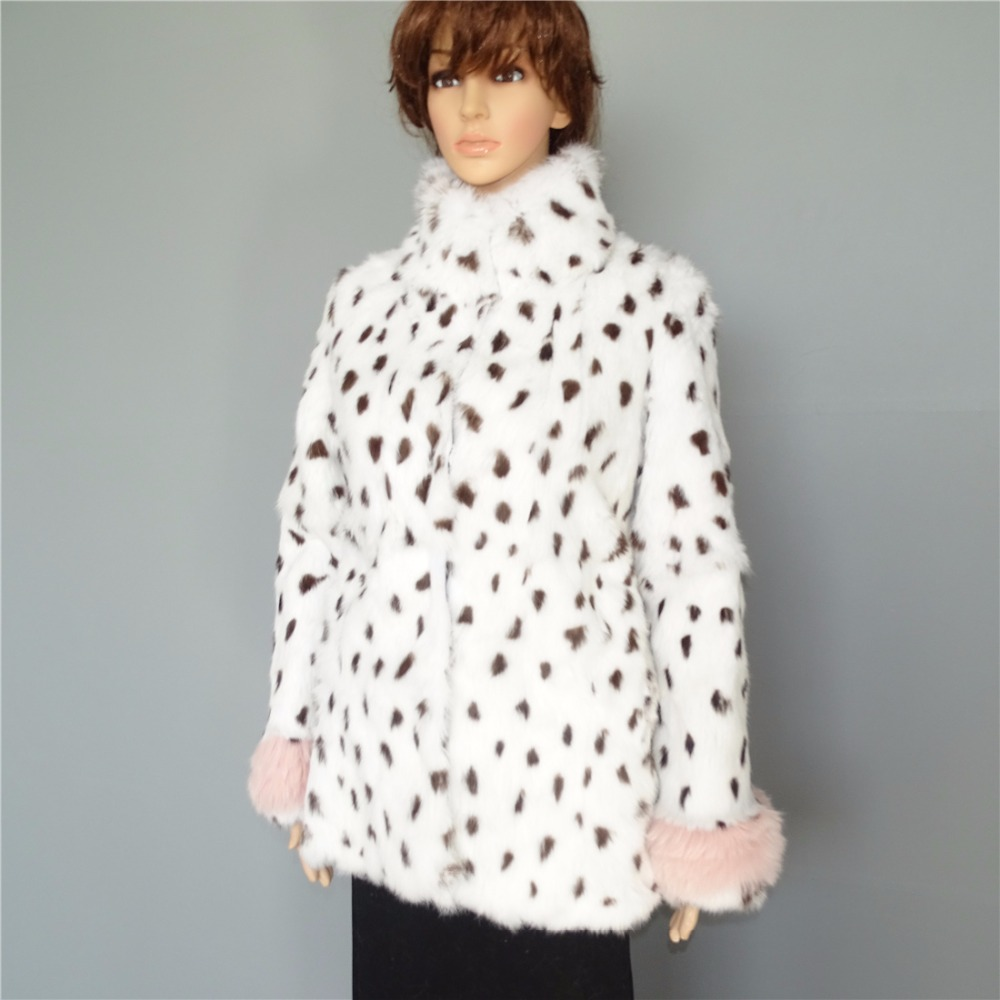 En Garder Pour Une Au Lapin Mode Fourrure Manteau Vraiment Léopard Hiver Femmes De Chaud YRzwqp5x7