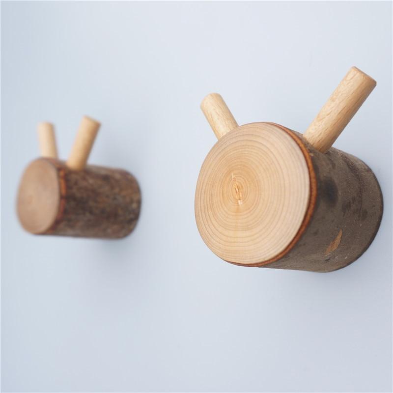 pinjeas unids natural moderna pared de madera percha perchas ganchos de montaje en pared del