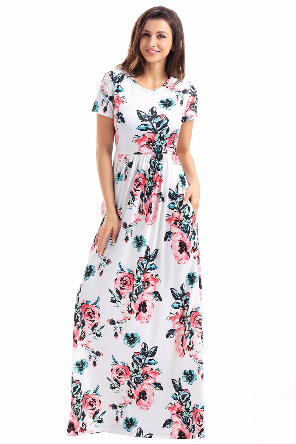 Boho Dresses New Arrival Beach Dresses Pocket Design Short Sleeve White Floral Maxi Dress Women Long Dress cheap clothes china