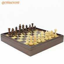 New Hot High Quality Board Games Wooden Chess Set Box Table Natural Green Paint Desktop 310*310*53mm qenueson