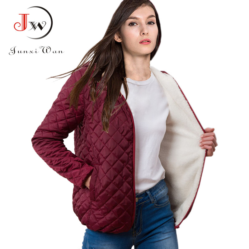Autumn Winter Women   Parkas   basic jackets coat Female velvet lamb hooded Coats Cotton Winter Jacket Womens Outwear Plus Size