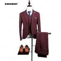 AIMENWANT מותג גברים של חליפת שושבין החתן חליפות Slim Fit מותאם עשה הטוב ביותר בורגונדי חתונה (Jacket + מכנסיים + אפוד) 3 חתיכה הבעל מתנות