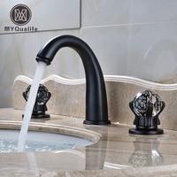 Deck Mounted Black Color Basin Tap Dual Crystal Handles Triple Holes Bathroom Mixer Faucet