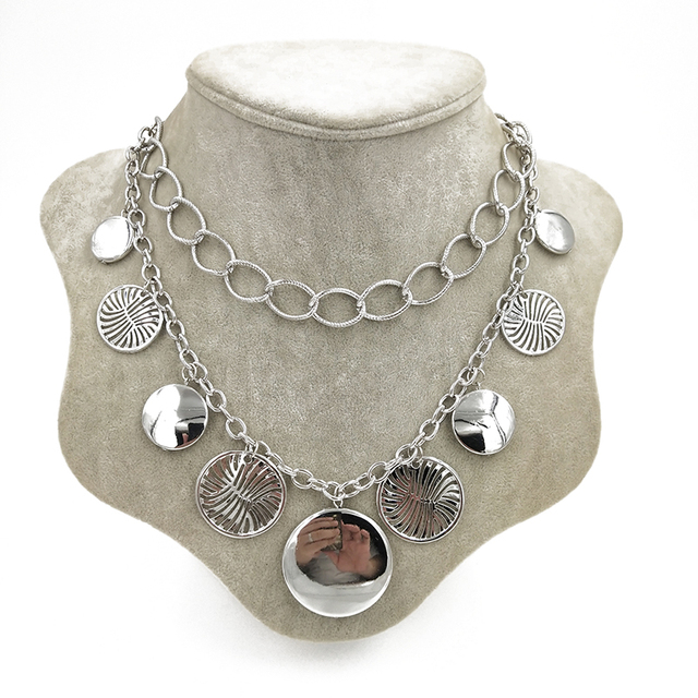 Gothic Multi Metal Circles Chokers Necklaces for Women
