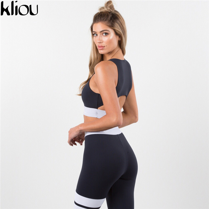 Kliou 2 Pieces suit crop tank striped leggings set 3