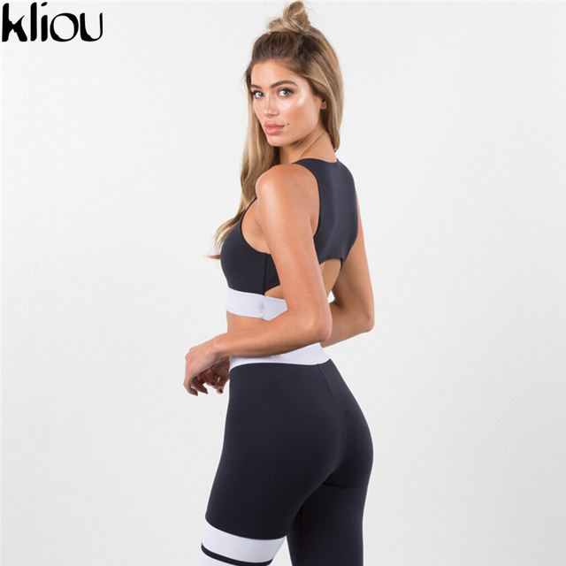 Kliou 2017 Women 2 Pieces suit crop tank striped leggings set Polyester Female Casual Bodysuit Club outfit sporting Tracksuits 4