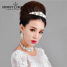 HIMSTORY Elegant Rhinestone Pearl Flower Silver Wedding Choker Necklaces Crown Drop Earring Fashion Bridal Jewelry Sets