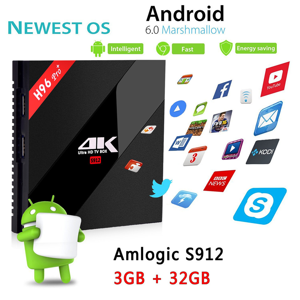 H96 pro+(3G+32G) Amlogic S912 64bit  Octa-core TV BOX SHEET H96 Pro MejoradaOcta Core Android 6.0 2.4G/5.8GHz Wifi HD2.0 4K HDR