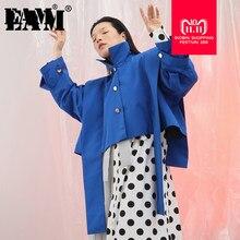 EAM  2018 autunno inverno Del Collare Del Basamento Manica Lunga Blu  Ribbonbig Size Increspature Split Comune Breve Rivestiment. 7984b6d2391