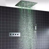 Multifuncional luxo teto 20 ''LED chuvas cabeça SPA chuveiro misty conjunto com Termostática conjunto misturador do chuveiro