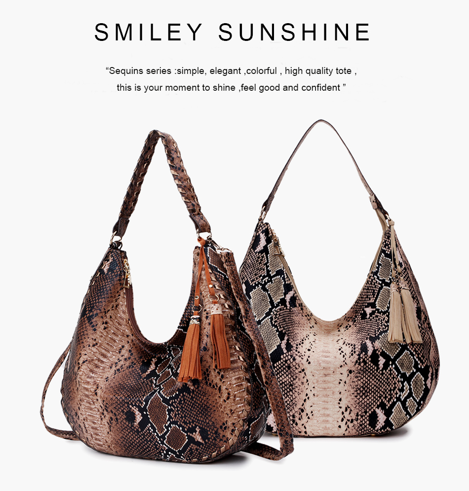 Smiley sunshine snake print grandes sacos femininos