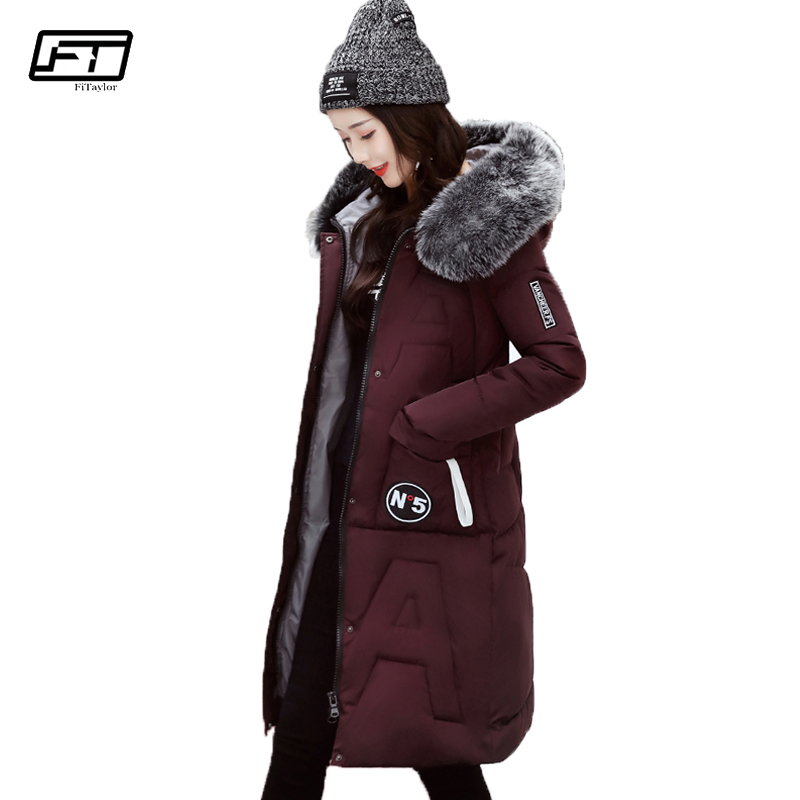 Fitaylor 2017 New Winter Fur Collar Hooded Parka Mujer Thick Warm Down Cotton Jacket Women Fashion Casual Medium Long Slim Coat