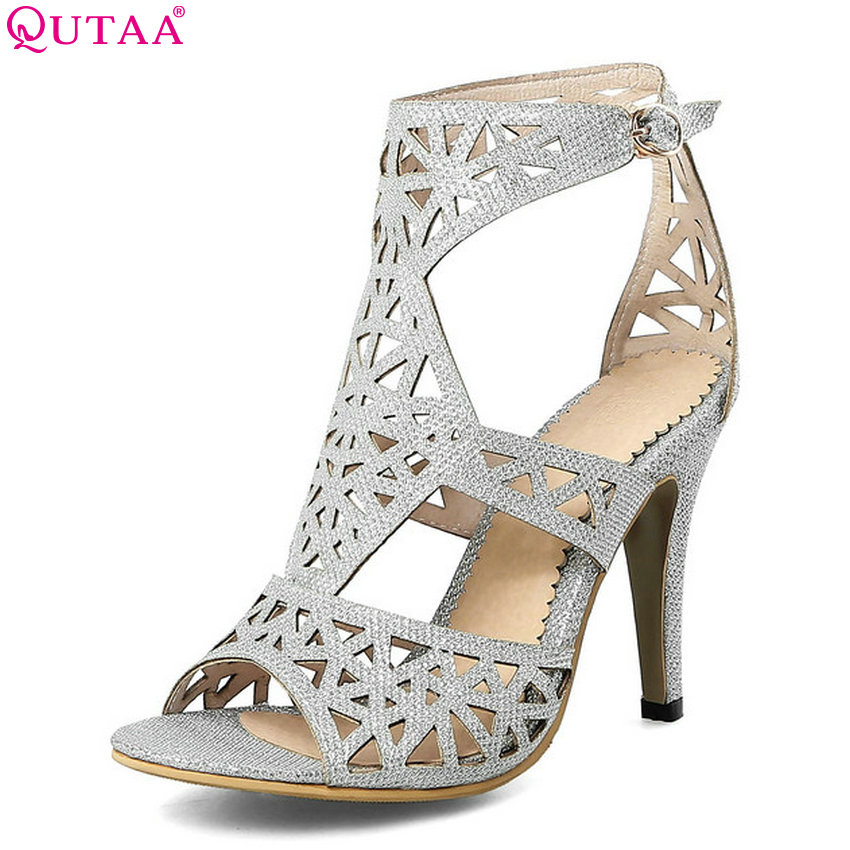 QUTAA 2018 New Arrive Women Pumps Pu Leather Fashion Thin High Heel All Match Women Shoes Peep Toe Buckle Women Pumps Size 34-43 fashion women s pumps with engraving and pu leather design