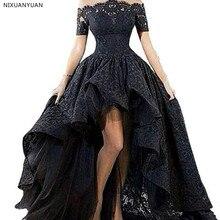 047e277943 Krótki przód długi powrót bez ramiączek asymetryczna piętro długość Black Lace  suknia ślubna Custom Made
