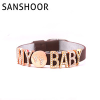 22 CM PU Lederen Houden Armband met DIY Charm Carrying Mijn Baby Footprint 1 set