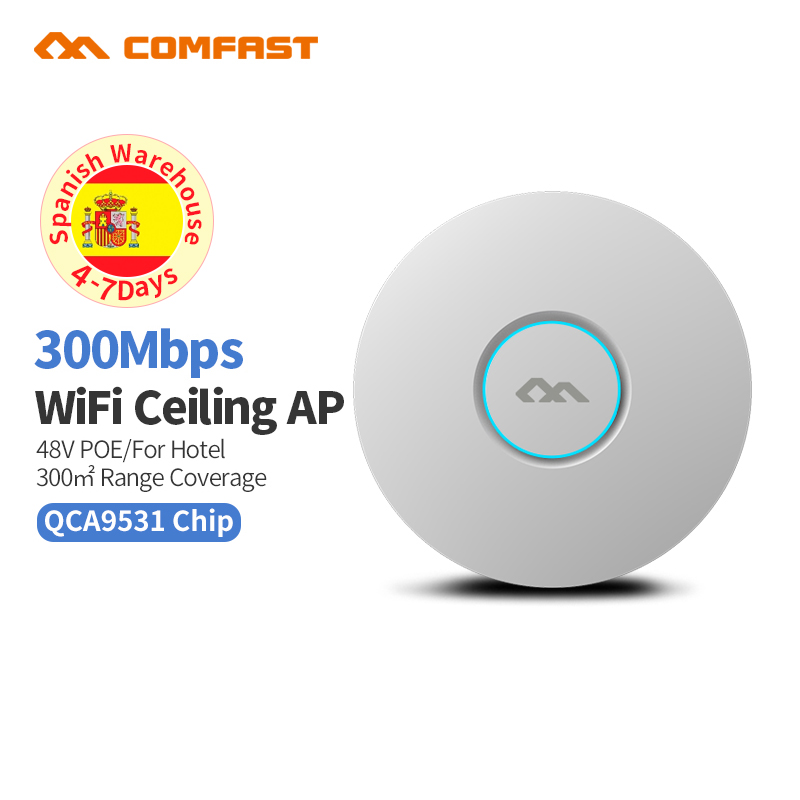 High Quality Wifi Hotspot 802.11b/g/n 2.4G 300Mbps Ceiling Mount PoE WiFi AP Router Wireless Access Point With 48V Poe Adapter image