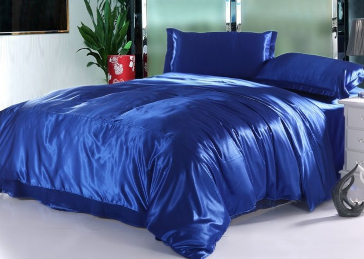 7pcs Silk Royal Blue Bedding Set Satin Sheets California King Queen Full  Twin Size Duvet Cover Fitted Bed Designer Quilt Linen In Bedding Sets From  Home ...