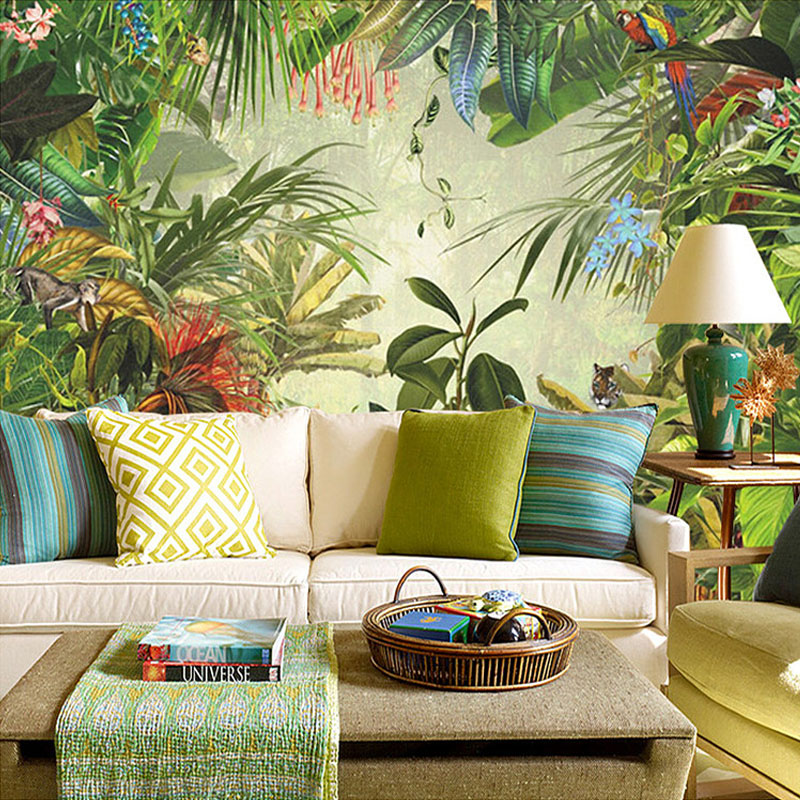 Custom Size Southeast Asian Rainforest Banana Leaf 3D Mural Wallpaper  Restaurant Living Room Decoration Wallpaper Wall Painting In Wallpapers  From Home ...