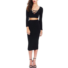 Women Fashion Autumn Long Sleeve Bandage Sexy Crop Top Midiskirt Party 2 Piece Set