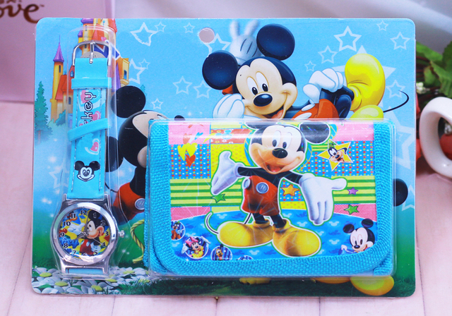 2018 New Children Cartoon Wallet Watch Set Mickey Watches Students Birthday Gift