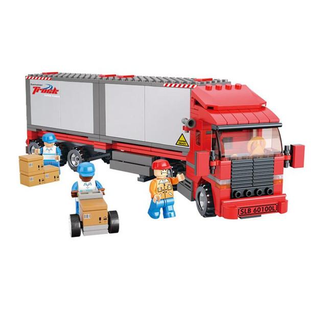 Sluban 0338 más nuevo vervoer enligthen motor truck set childen juguetes educativos del edificio de ladrillo bloque lepin kazi bela sluban