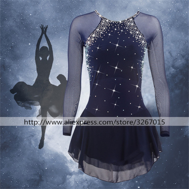 Figure Skating Dress Women's Girls' Ice Skating Dress  Dark Navy Red Shiny rhinestone Elastic mesh fabric  Long sleeve