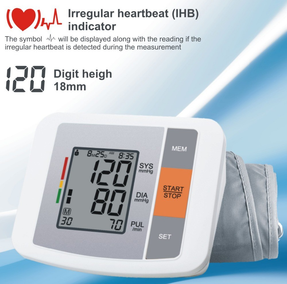 Portable Household Health Monitor Digital Upper Arm Blood Pressure Electronic Automatic Monitor Heartbeat Indicator Tonometer 14