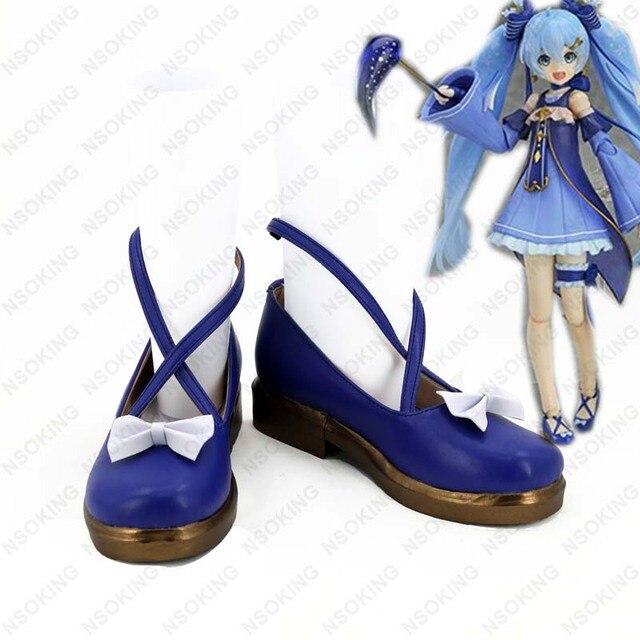 Nova Vocaloid 2017 MIKU NEVE Botas Cosplay Anime mulheres Sapatos Feitos Sob Encomenda