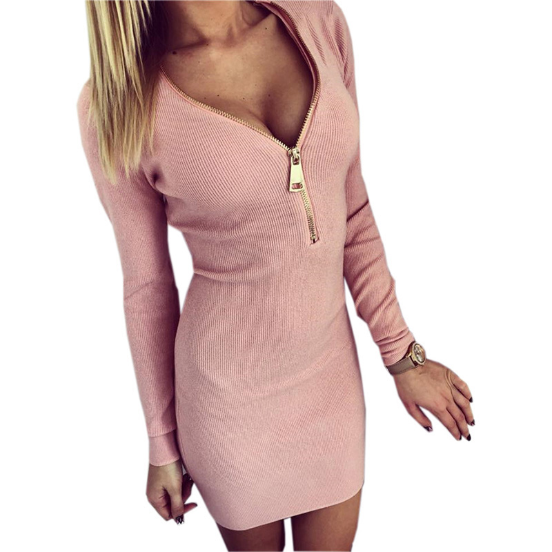 2017 Women Dresses Zipper V-neck Sexy Knitted Dress Long Sleeve Bodycon Sheath Pack Hip Dress Vestidos plus size free shipping lolen women s fashion sheath dress and long sections package hip sexy v neck long sleeved knitted dresses nightclub