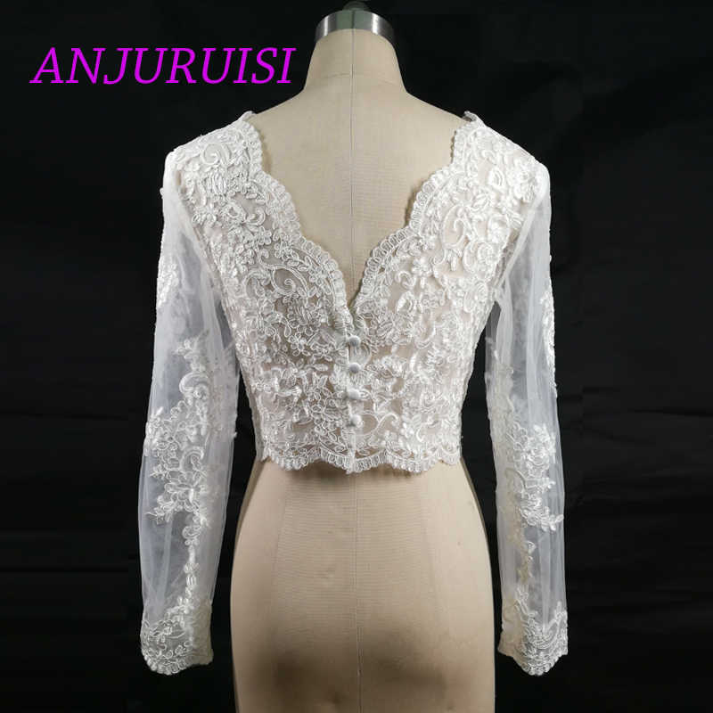 Anjuruisi Anggun Appliques Saham Lengan Panjang Putih Renda Bahu Dipotong Bolero Pernikahan Jaket 2019 Bridal Wraps