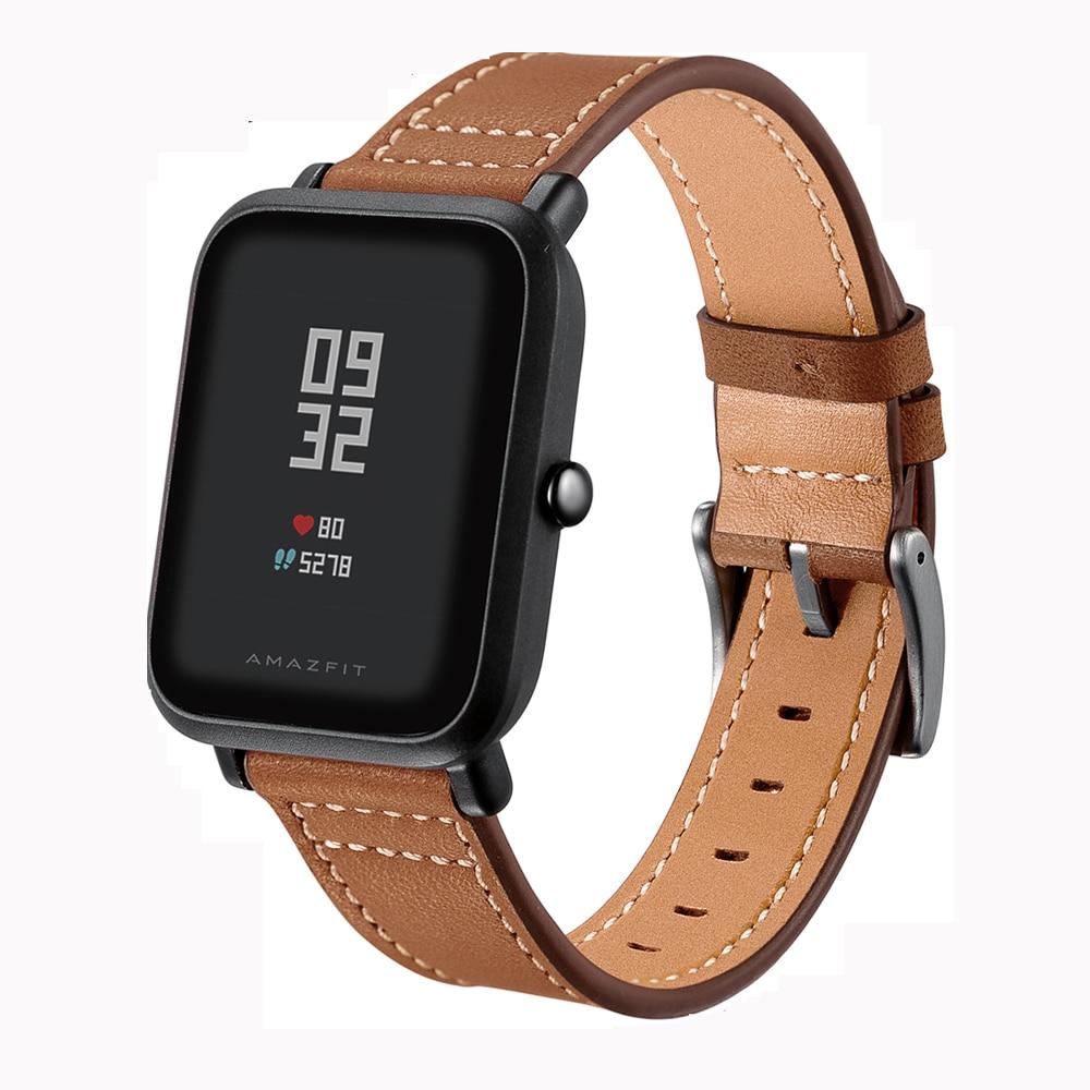 Correa de cuero genuino para Xiaomi Huami Amazfit Bip poco ritmo Lite juventud Smart Watch pulsera