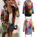 Женская куртка в стиле граффити радуги  пальто с принтом  с длинным рукавом  дышащая  на осень  с длинным рукавом  повседневное  тонкое пальто...