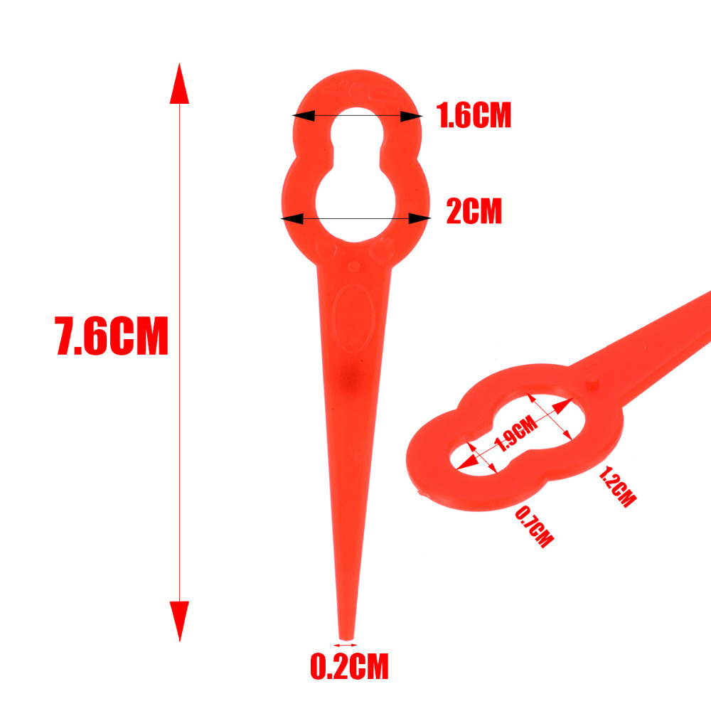 100Pcs set Grass Trimmer Blade Cutter Lawn Trimmer Spare Blade Garden Replacement Blade Red in Tool Parts from Tools