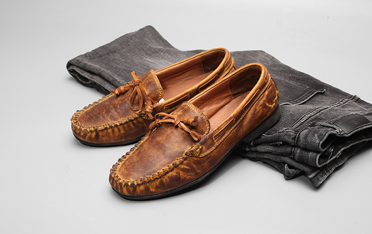Men Real Leather Shoes Full Grain Leather Men's Loafers Top Quality Retro Brown Flats Shoes for Man Casual Moccasins high quality 2016 new brand aqua two shoes men boat shoes full grain leahter loafers shoes for men us5 5 10 casual shoes men