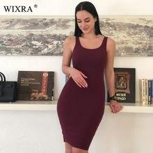 087762aa524b9 WIXRA Temel Yelek Elbise Kadın Yüksek Streç Nervürlü Örgü Elbise yaz 2018  Katı Kısa Casual Elbise