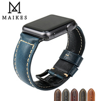 MAIKES Vintage Oil Wax Leather Watch Strap Watchband IWatch Bracelet With Adapter For Apple Watch Band