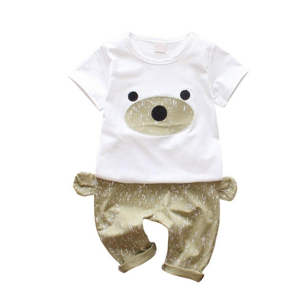 2 шт. для малышей милый короткий рукав Носки с рисунком медведя из мультика футболки Топы + уши Дизайн шорты брюки Летняя детская для девочек ...