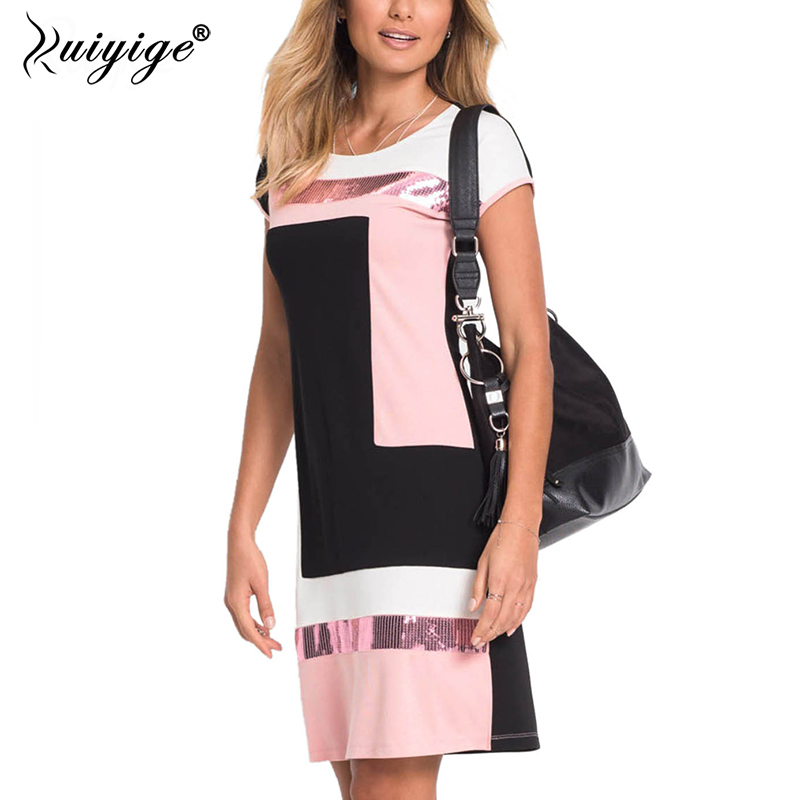 Ruiyige 2018 Women Daily Shift Dress Summer O-Neck Pacthwork Vestidos Sheath Contrast Sequined Midi Robes Prom Work Dress Falda