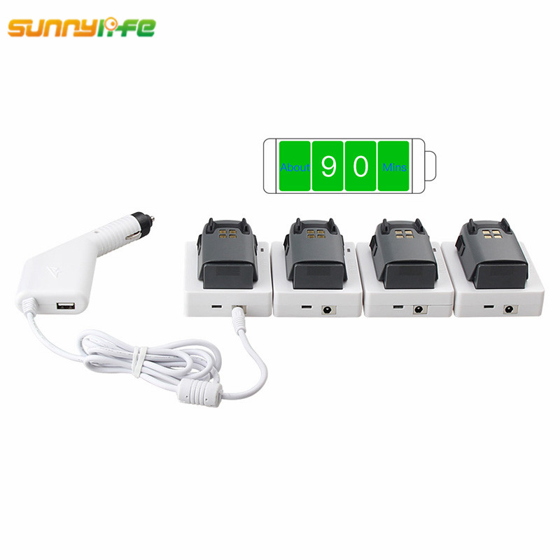 цена на Sunnylife DJI Spark Car Charger with USB Port for Remote Controller + QC3.0 Parallel Charging Plate 1 or 4 Fast Charge Hub Base