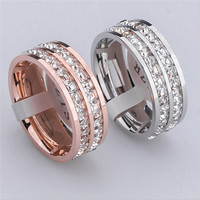 2015 New Design Fashion Silver Rose Gold Finger Ring For Woman Stainless Steel Double Row Crystal