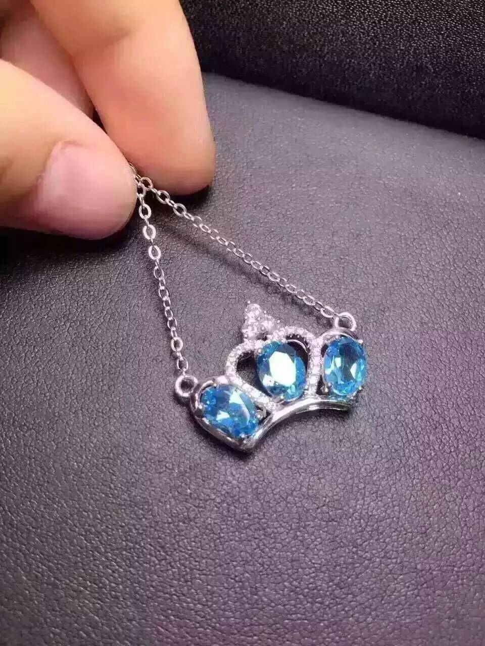 Natural topaz stone Necklace natural gemstone Pendant Necklace S925 silver trendy Personality imperial crown women Jewelry недорго, оригинальная цена