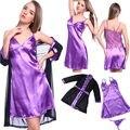 Sexy Lady Атласные Кружева Халат Пижамы Белье Ночной Рубашке-Стринги Пижамы Набор