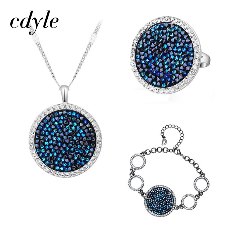 Cdyle Fashion Jewelry Set Blue Gem Women Necklace Ring Bracelet Sets  Crystals from Swarovski Female Round Bijoux Gift Charm 7f36dce74a05