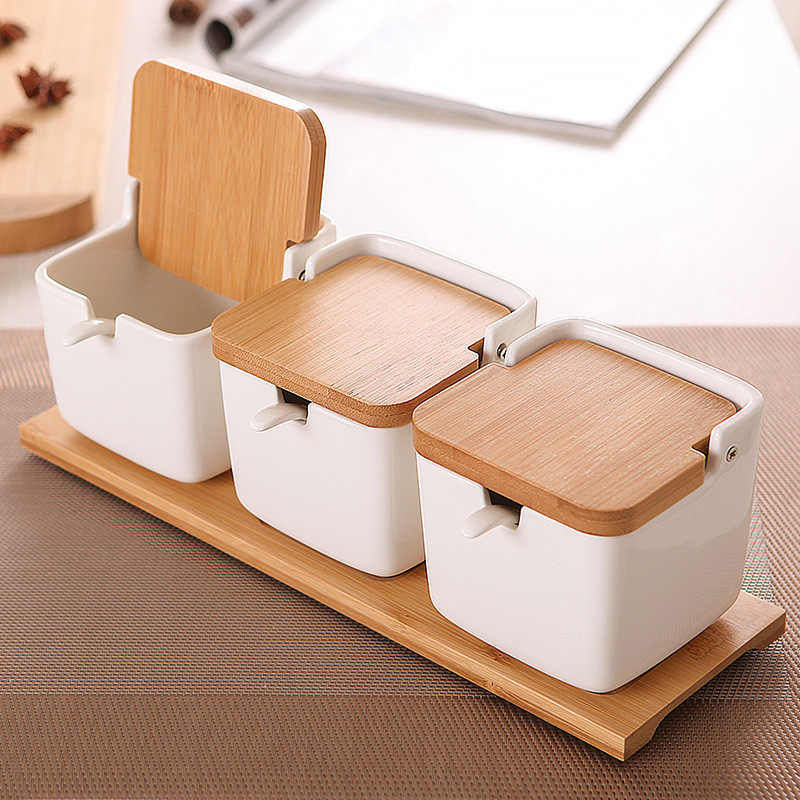Wooden Pepper Seasoning Pot with Spoon Lid Condiment Creative Oil Salt Container