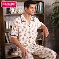 De Manga corta de Verano Hombres Carácter Homewear Pijama Establece Pijamas de Algodón ropa de Noche Masculina Ocasional Da Vuelta-abajo Salón Sueño Desgaste