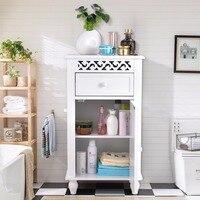 Giantex Storage Floor Cabinet Bathroom Organizer Floor Cabinet Drawer Kitchen White Modern Bathroom Furniture HW57018
