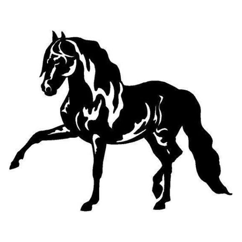 15.5*12.5CM Andalusian Horse Creative Car Body Decal Cute Animal Vinyl Car Styling Stickers Black/Silver C9-0769