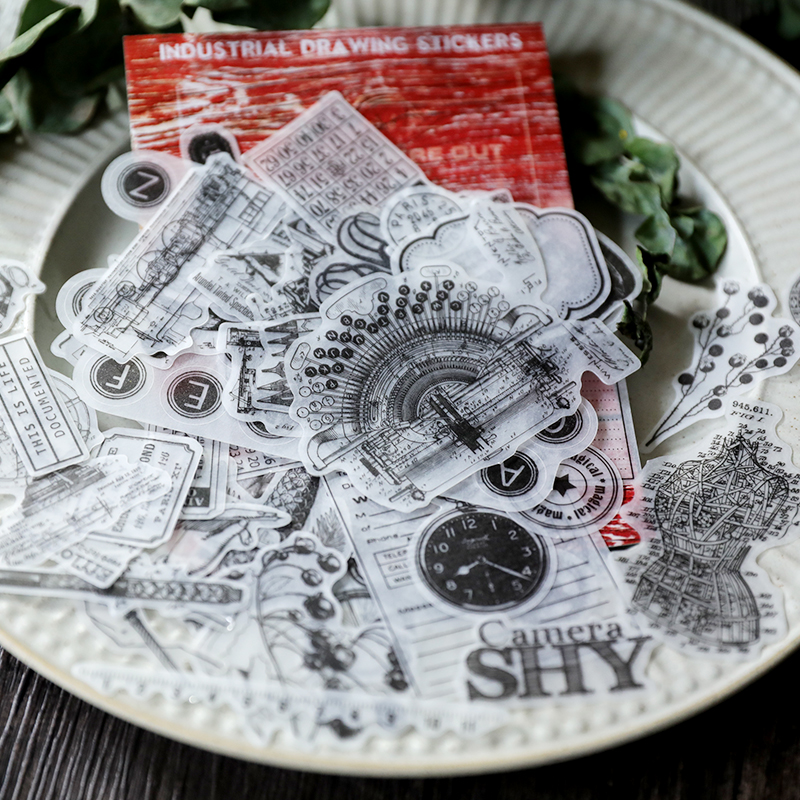 88pcs Vintage mechanical drawing old beauty tailor Retro objects Decorative Sticker DIY Scrapbooking Label Diary Sticker Escolar88pcs Vintage mechanical drawing old beauty tailor Retro objects Decorative Sticker DIY Scrapbooking Label Diary Sticker Escolar